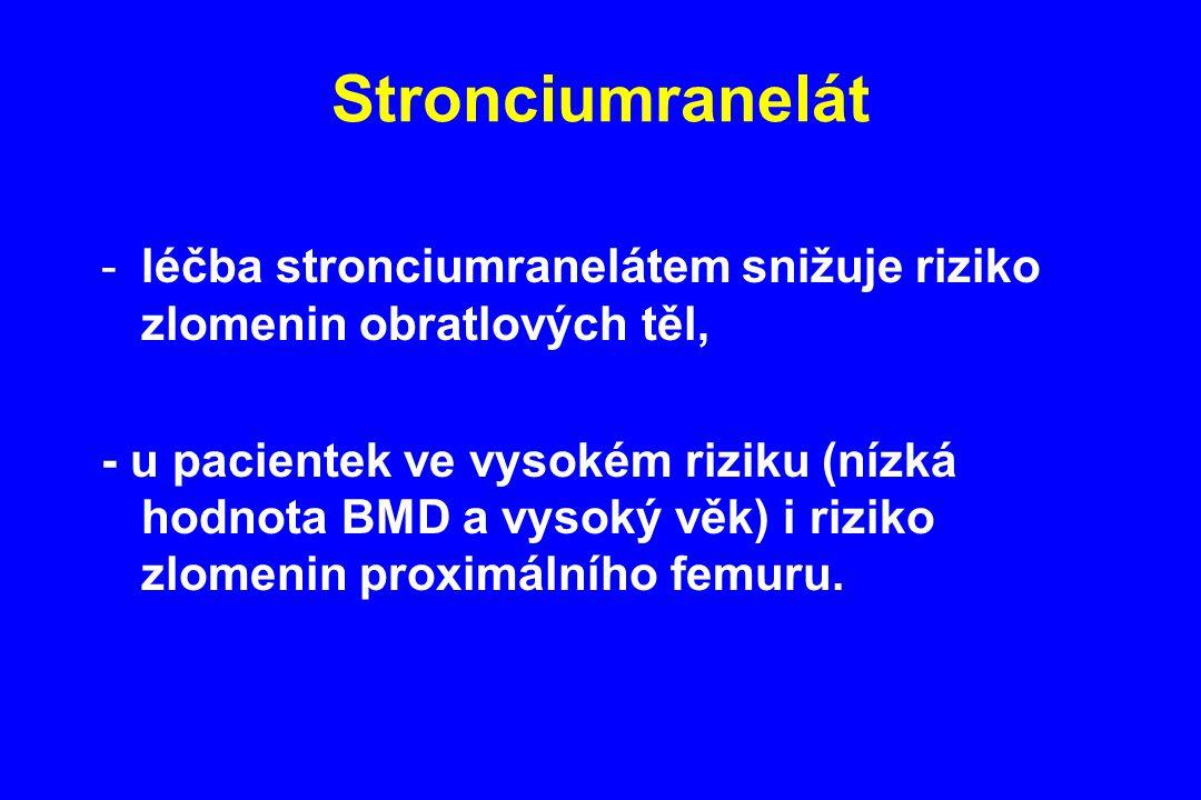 Stronciumranelát -léčba stronciumranelátem snižuje riziko zlomenin obratlových těl, - u pacientek ve vysokém riziku (nízká hodnota BMD a vysoký věk) i