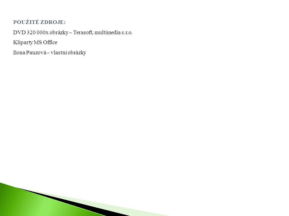 POUŽITÉ ZDROJE: DVD 320 000x obrázky – Terasoft, multimedia s.r.o. Kliparty MS Office Ilona Pauzová – vlastní obrázky