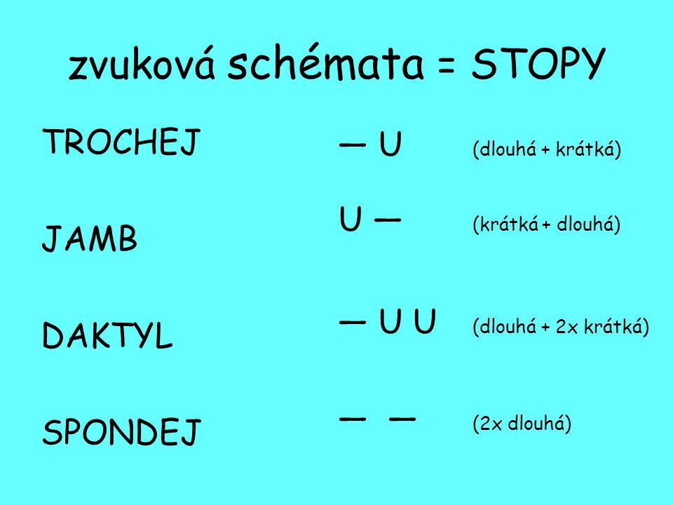 zvuková schémata = STOPY TROCHEJ JAMB DAKTYL SPONDEJ — U (dlouhá + krátká) U — (krátká + dlouhá) — U U (dlouhá + 2x krátká) — — (2x dlouhá)