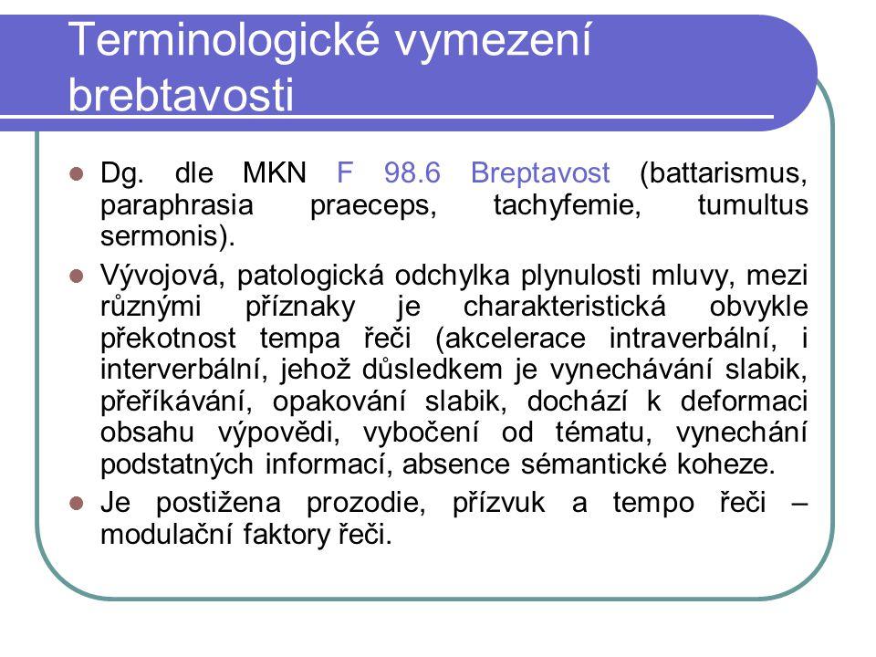 Terminologické vymezení brebtavosti Dg. dle MKN F 98.6 Breptavost (battarismus, paraphrasia praeceps, tachyfemie, tumultus sermonis). Vývojová, patolo