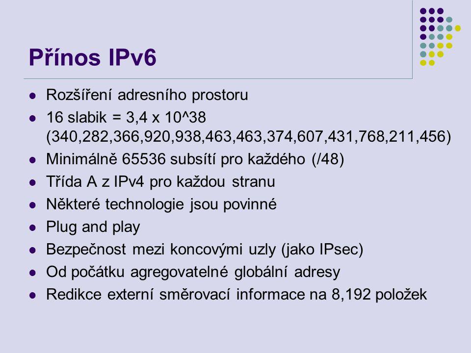 Přínos IPv6 Rozšíření adresního prostoru 16 slabik = 3,4 x 10^38 (340,282,366,920,938,463,463,374,607,431,768,211,456) Minimálně 65536 subsítí pro kaž