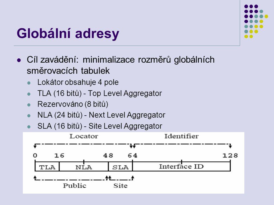Globální adresy Cíl zavádění: minimalizace rozměrů globálních směrovacích tabulek Lokátor obsahuje 4 pole TLA (16 bitů) - Top Level Aggregator Rezervováno (8 bitů) NLA (24 bitů) - Next Level Aggregator SLA (16 bitů) - Site Level Aggregator