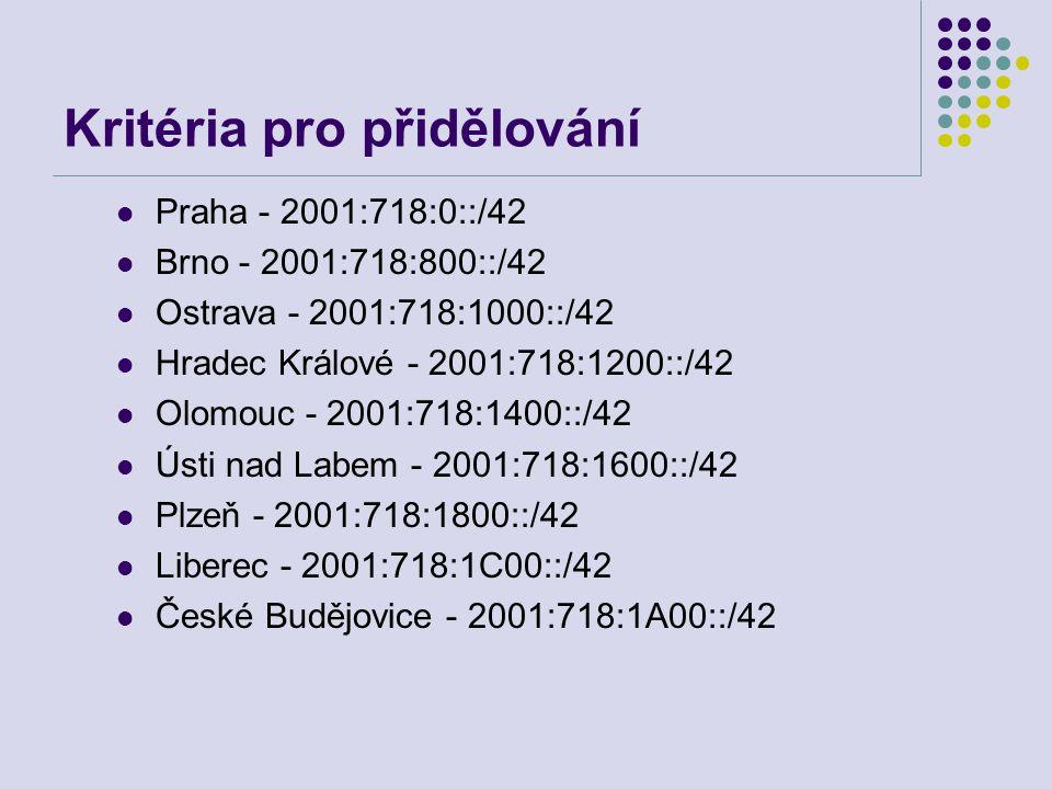 Kritéria pro přidělování Praha - 2001:718:0::/42 Brno - 2001:718:800::/42 Ostrava - 2001:718:1000::/42 Hradec Králové - 2001:718:1200::/42 Olomouc - 2