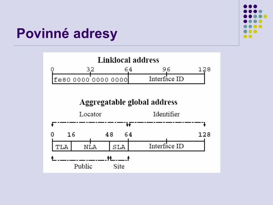 Povinné adresy