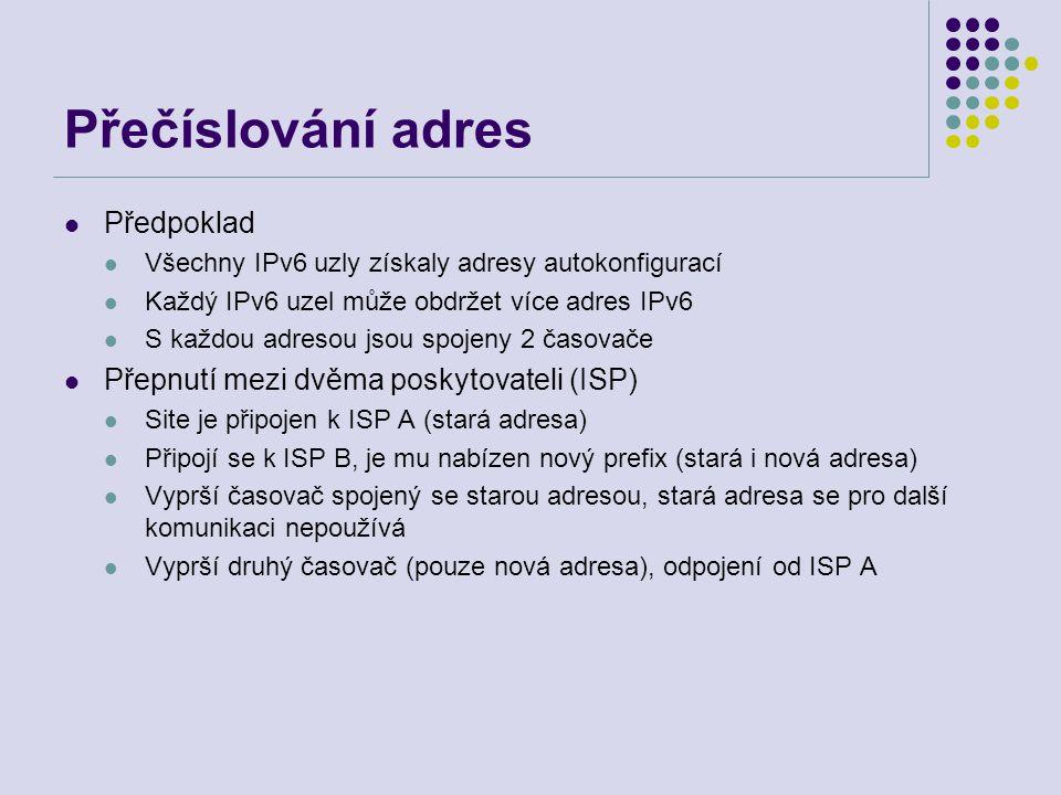 Přečíslování adres Předpoklad Všechny IPv6 uzly získaly adresy autokonfigurací Každý IPv6 uzel může obdržet více adres IPv6 S každou adresou jsou spoj