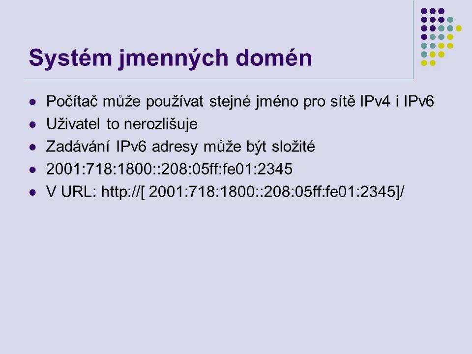 Systém jmenných domén Počítač může používat stejné jméno pro sítě IPv4 i IPv6 Uživatel to nerozlišuje Zadávání IPv6 adresy může být složité 2001:718:1