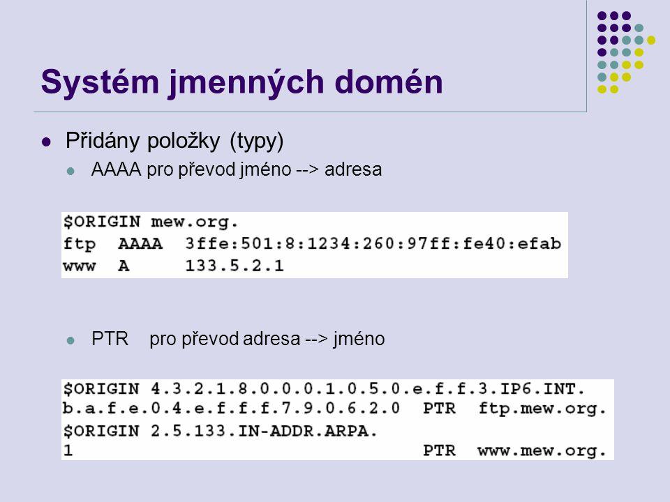 Systém jmenných domén Přidány položky (typy) AAAA pro převod jméno --> adresa PTR pro převod adresa --> jméno