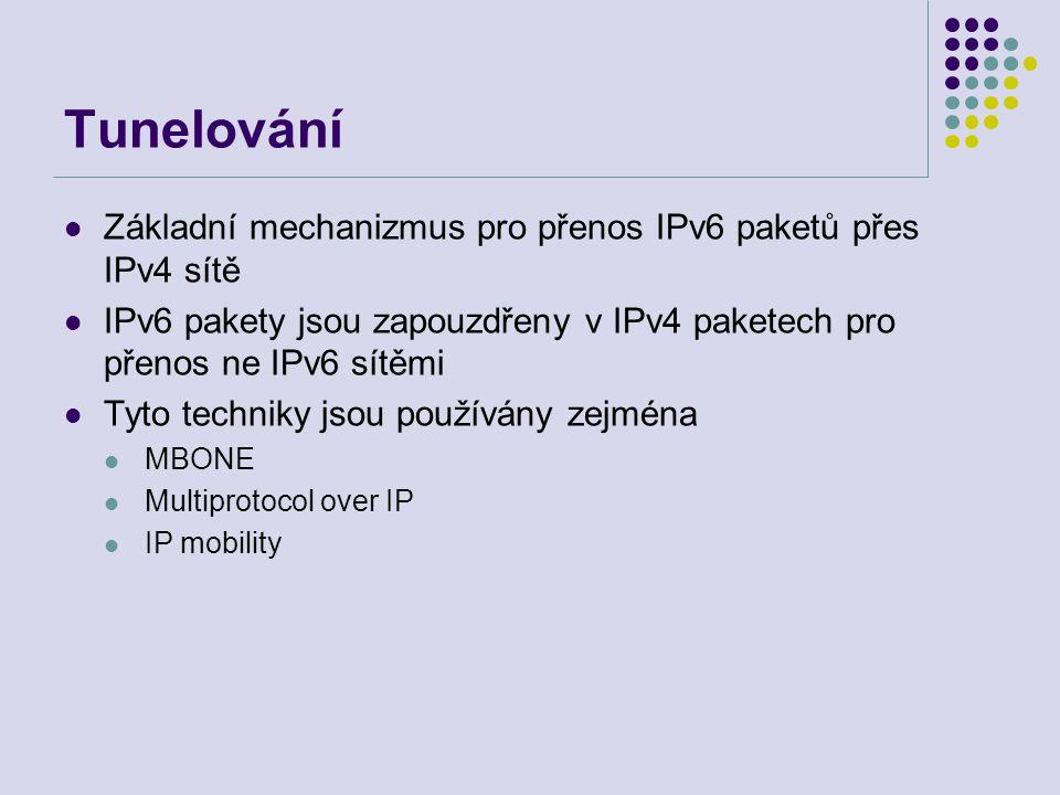 Tunelování Základní mechanizmus pro přenos IPv6 paketů přes IPv4 sítě IPv6 pakety jsou zapouzdřeny v IPv4 paketech pro přenos ne IPv6 sítěmi Tyto tech
