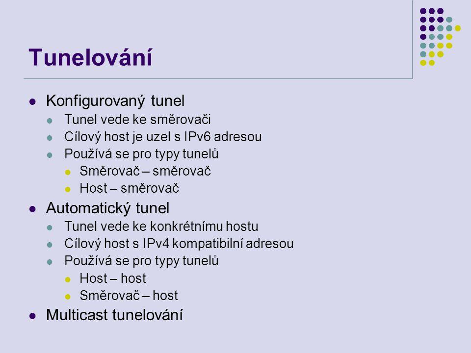 Tunelování Konfigurovaný tunel Tunel vede ke směrovači Cílový host je uzel s IPv6 adresou Používá se pro typy tunelů Směrovač – směrovač Host – směrovač Automatický tunel Tunel vede ke konkrétnímu hostu Cílový host s IPv4 kompatibilní adresou Používá se pro typy tunelů Host – host Směrovač – host Multicast tunelování