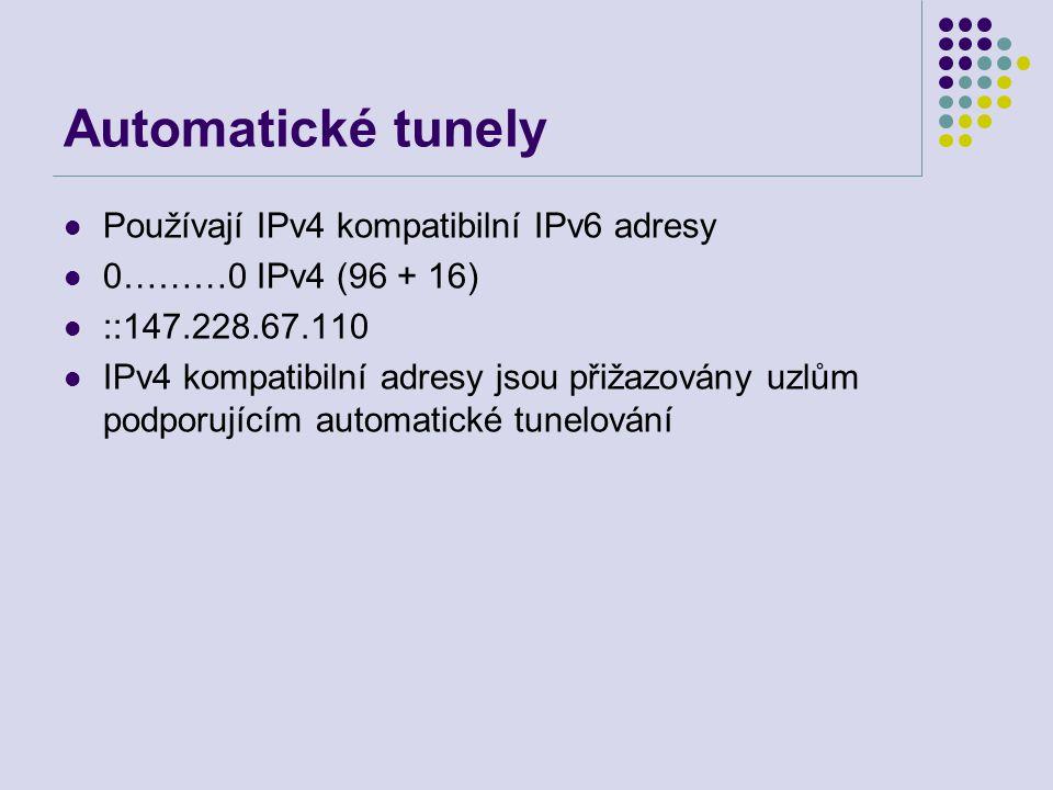 Automatické tunely Používají IPv4 kompatibilní IPv6 adresy 0………0 IPv4 (96 + 16) ::147.228.67.110 IPv4 kompatibilní adresy jsou přižazovány uzlům podporujícím automatické tunelování