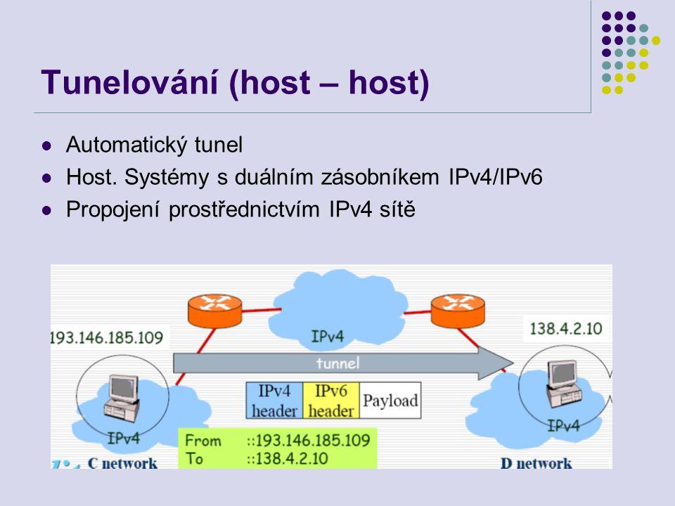 Tunelování (host – host) Automatický tunel Host. Systémy s duálním zásobníkem IPv4/IPv6 Propojení prostřednictvím IPv4 sítě