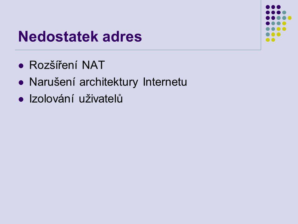 Nedostatek adres Rozšíření NAT Narušení architektury Internetu Izolování uživatelů