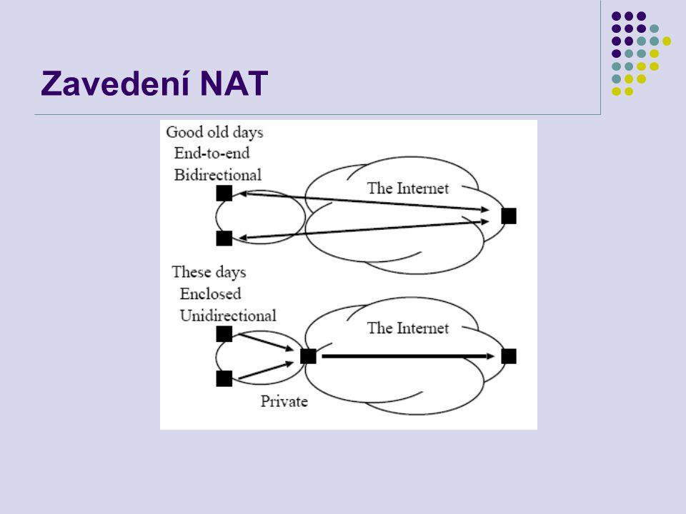 Internet s NAT Jednosměrná komunikace Uzavřená komunikace Jedno místo náchylné k chybám Vývoj aplikací je potlačovaný NAT Není možné účtování ze serverů