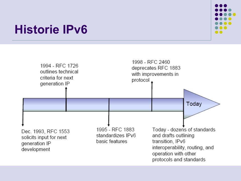 Formát rámce IPv6 Flow label – identifikace toku dat – možnost přiřazení priority (QoS) Payload length – délka ve slabikách za standardním záhlavím (data + dodatečná záhlaví) Hop limit – místo TTL (v počtu přeskoků) Next header – následující záhlaví (IPv6, TCP, typy zapouzdření)