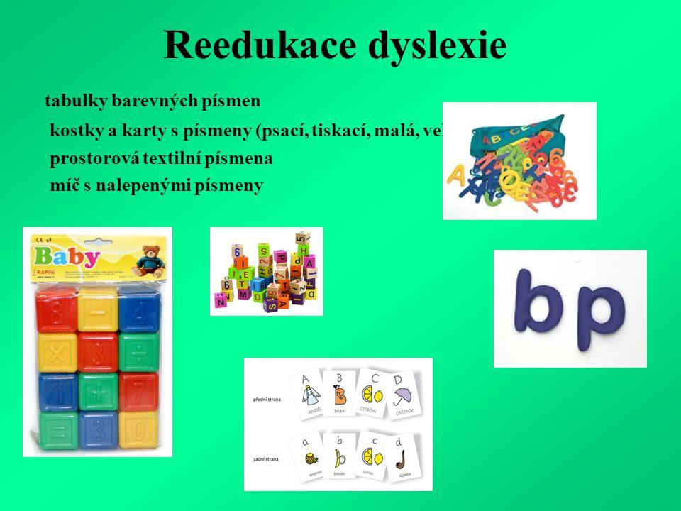 Reedukace dyslexie tabulky barevných písmen kostky a karty s písmeny (psací, tiskací, malá, velká) prostorová textilní písmena míč s nalepenými písmeny