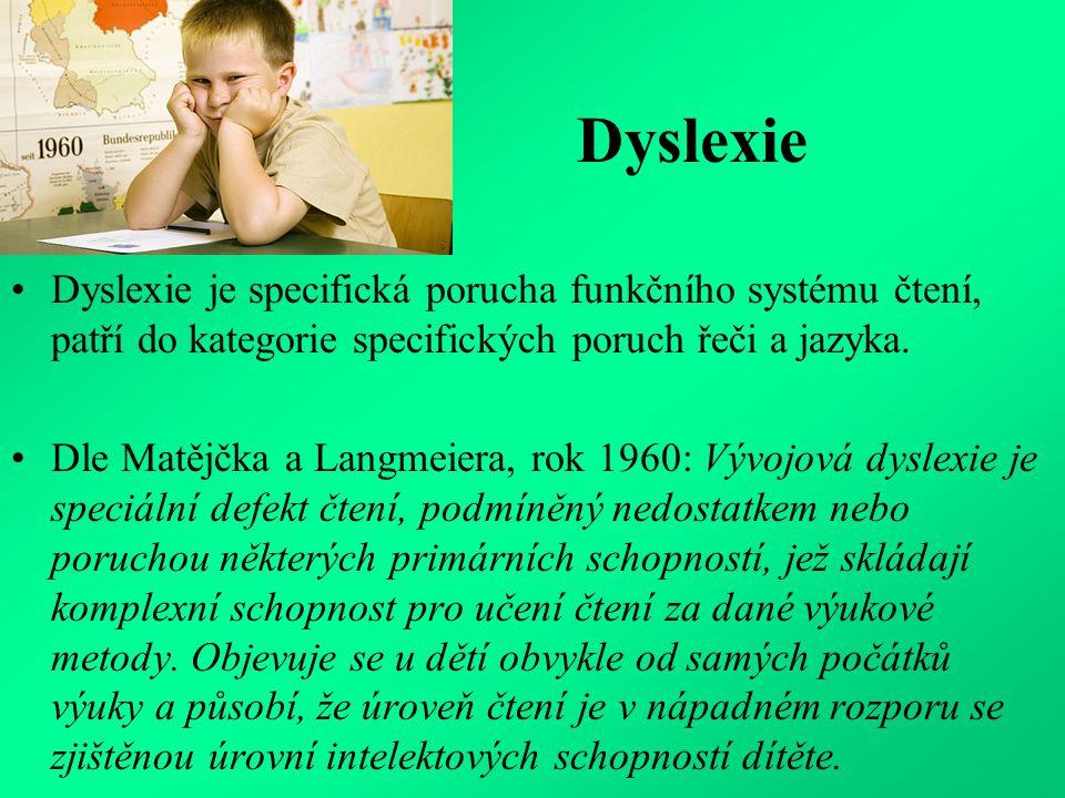 Definice z roku 2002 Dyslexie je specifická porucha učení neurobiologického původu.