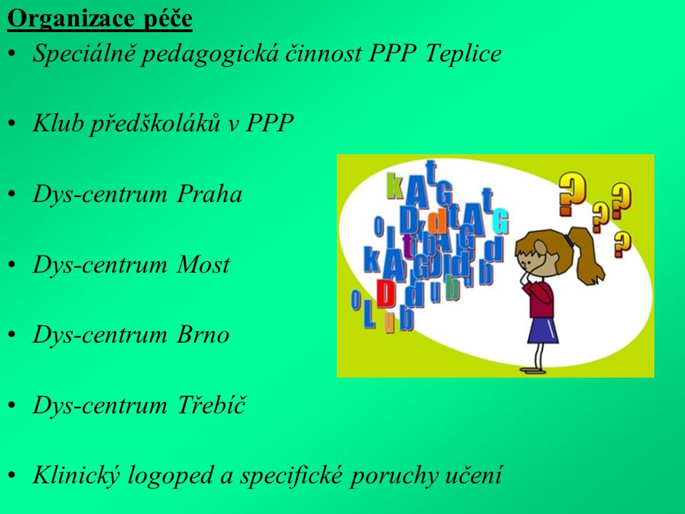 Organizace péče Speciálně pedagogická činnost PPP Teplice Klub předškoláků v PPP Dys-centrum Praha Dys-centrum Most Dys-centrum Brno Dys-centrum Třebíč Klinický logoped a specifické poruchy učení