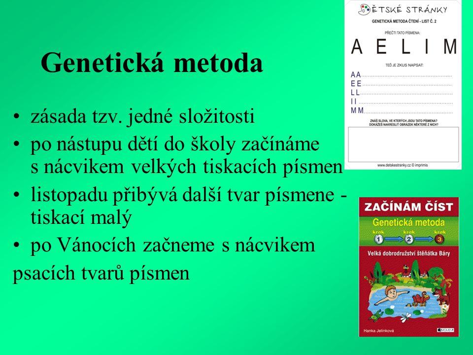 vyhledávání a přikládání písmen, slabik, slov na předlohu (z druhé strany materiálu kontrola obrázkem) tabulky na přiřazování tiskacích písmen a slov k psacím karty s vyznačením plynulých očních pohybů skládací abeceda (Komenium) písmeno P v různých polohách a různých podob