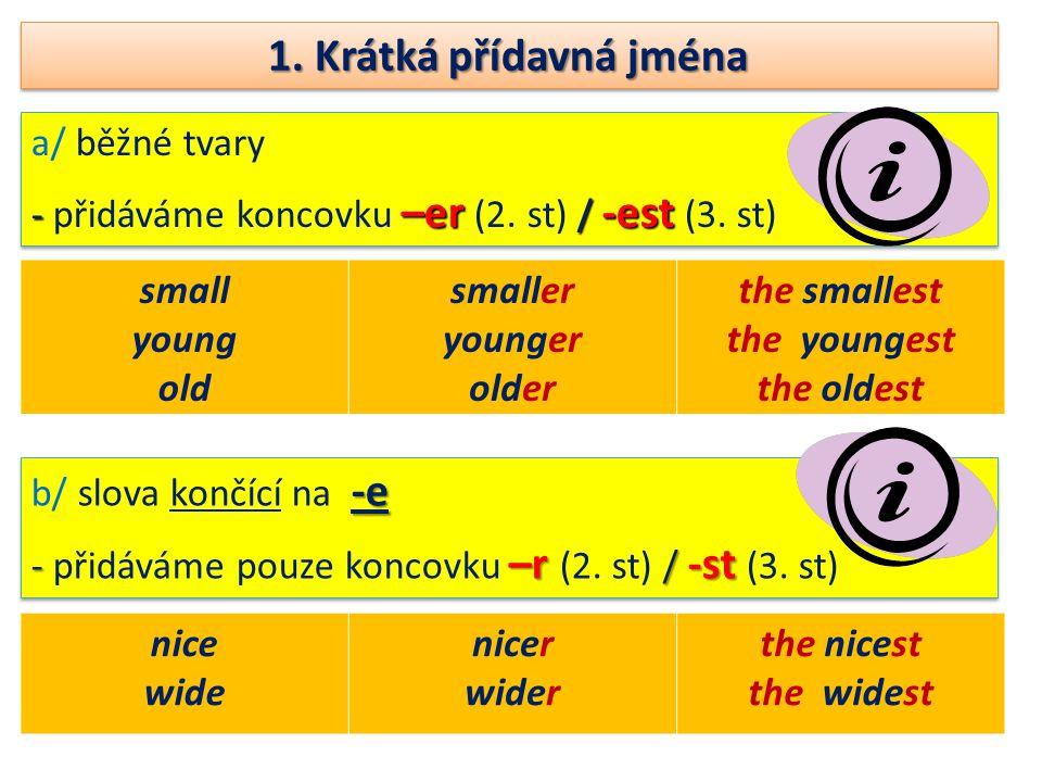 1. Krátká přídavná jména a/ běžné tvary - –er / -est - přidáváme koncovku –er (2.