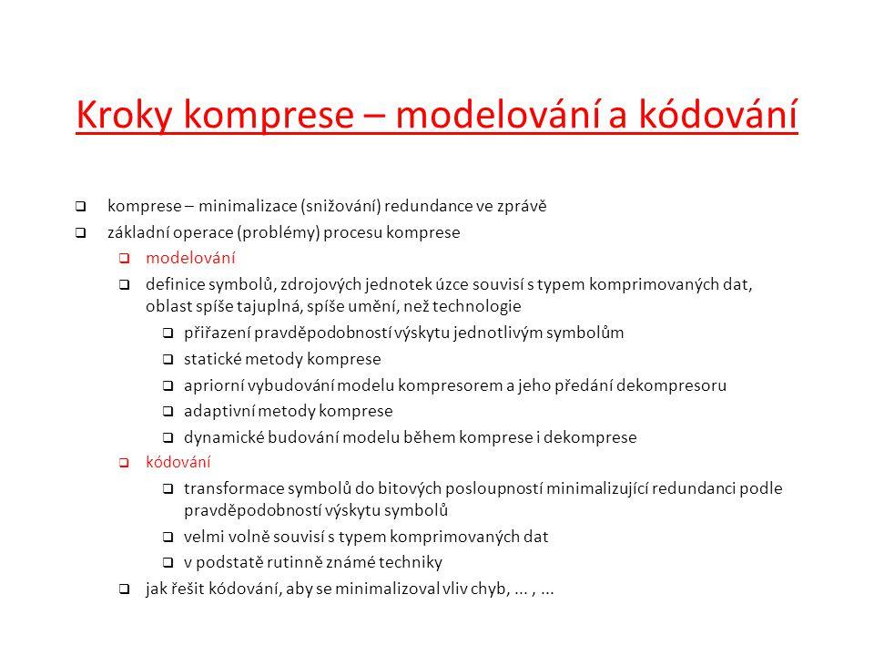 Kroky komprese – modelování a kódování  komprese – minimalizace (snižování) redundance ve zprávě  základní operace (problémy) procesu komprese  mod