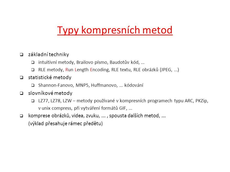 Typy kompresních metod  základní techniky  intuitivní metody, Brailovo písmo, Baudotův kód,...  RLE metody, Run Length Encoding, RLE textu, RLE obr