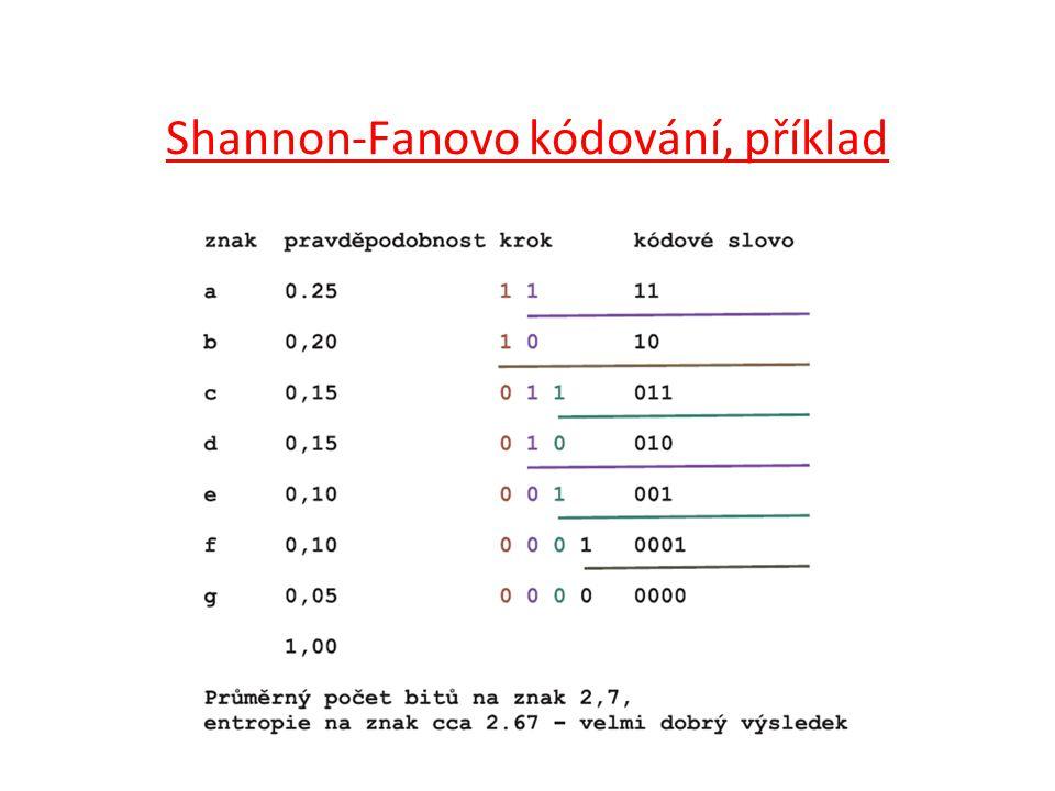 Shannon-Fanovo kódování, příklad