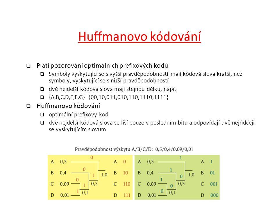 Huffmanovo kódování  Platí pozorování optimálních prefixových kódů  Symboly vyskytující se s vyšší pravděpodobností mají kódová slova kratší, než sy