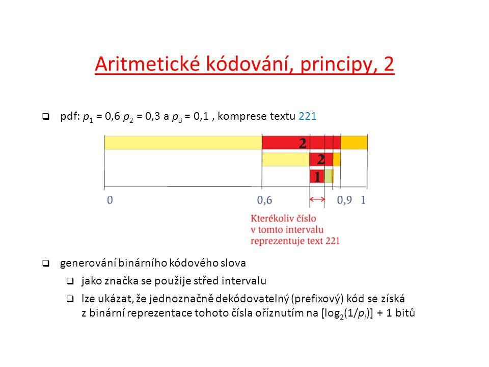 Aritmetické kódování, principy, 2  pdf: p 1 = 0,6 p 2 = 0,3 a p 3 = 0,1, komprese textu 221  generování binárního kódového slova  jako značka se po