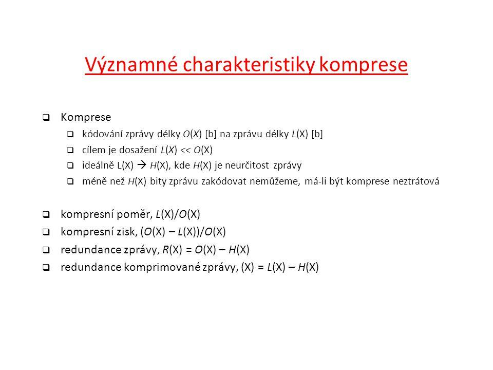 Významné charakteristiky komprese  Komprese  kódování zprávy délky O(X) [b] na zprávu délky L(X) [b]  cílem je dosažení L(X) << O(X)  ideálně L(X)