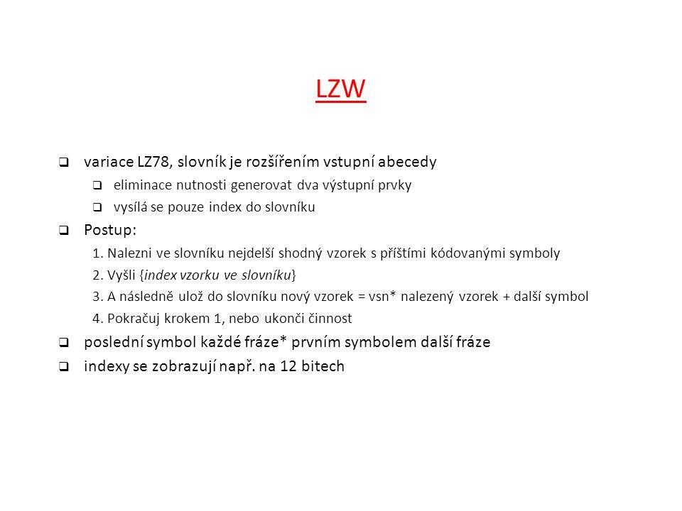 LZW  variace LZ78, slovník je rozšířením vstupní abecedy  eliminace nutnosti generovat dva výstupní prvky  vysílá se pouze index do slovníku  Post