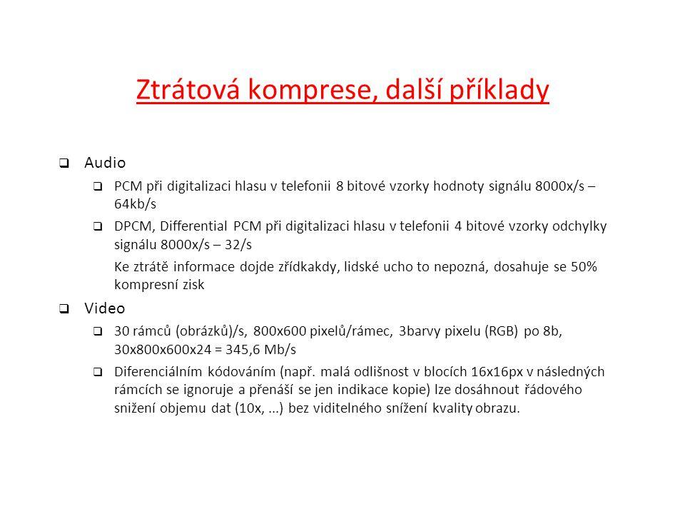 Ztrátová komprese, další příklady  Audio  PCM při digitalizaci hlasu v telefonii 8 bitové vzorky hodnoty signálu 8000x/s – 64kb/s  DPCM, Differenti