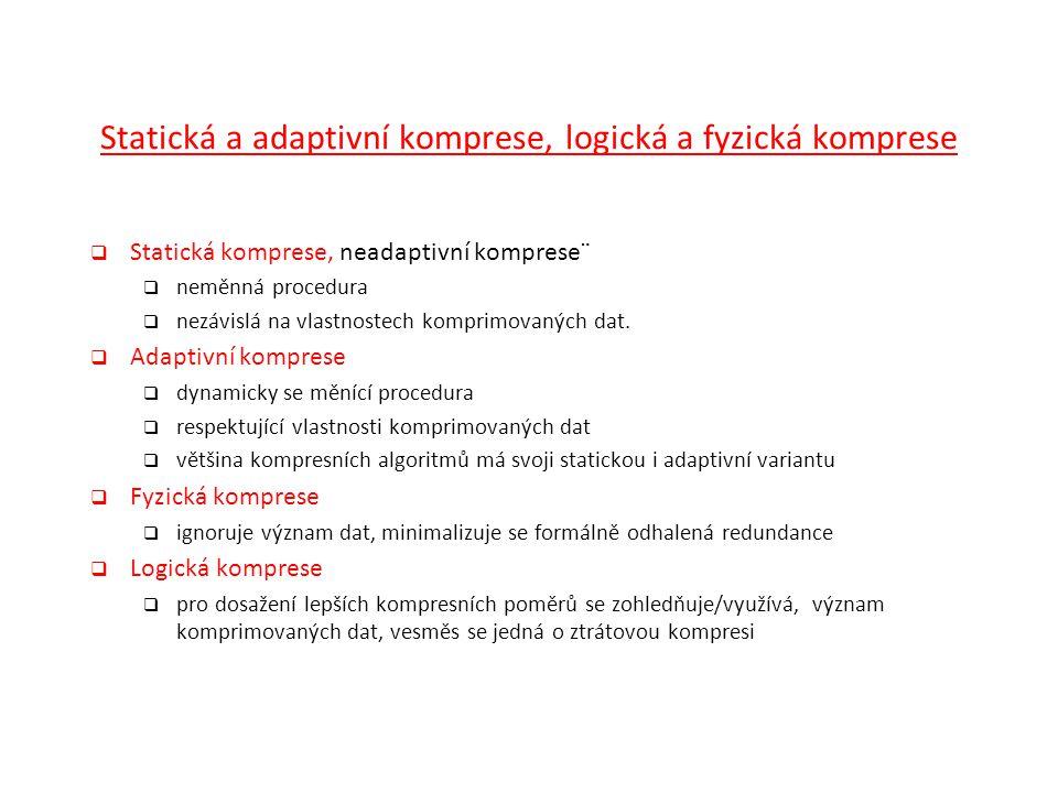 Statická a adaptivní komprese, logická a fyzická komprese  Statická komprese, neadaptivní komprese¨  neměnná procedura  nezávislá na vlastnostech k
