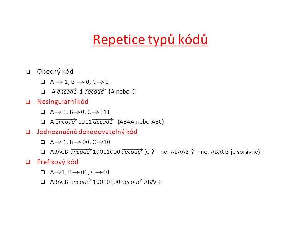 Repetice typů kódů  Obecný kód  A 1, B0, C 1  A encode 1 decode {A nebo C}  Nesingulární kód  A 1, B 0, C 111  A encode 1011 decode {ABAA nebo A