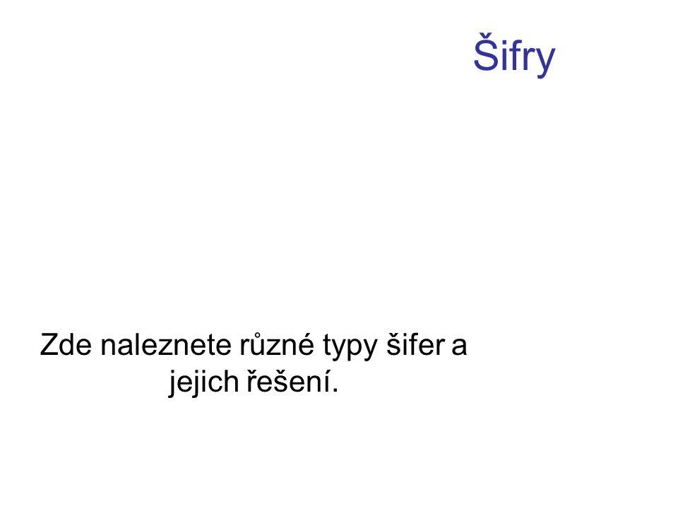 Šifry Zde naleznete různé typy šifer a jejich řešení.