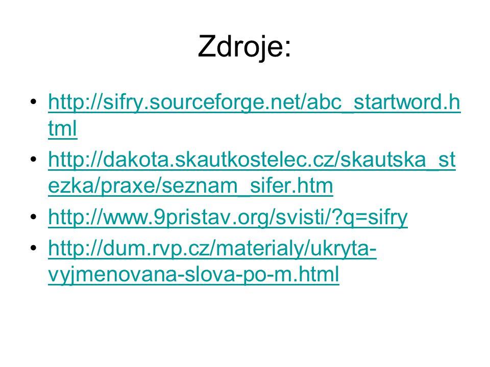 Zdroje: http://sifry.sourceforge.net/abc_startword.h tmlhttp://sifry.sourceforge.net/abc_startword.h tml http://dakota.skautkostelec.cz/skautska_st ez