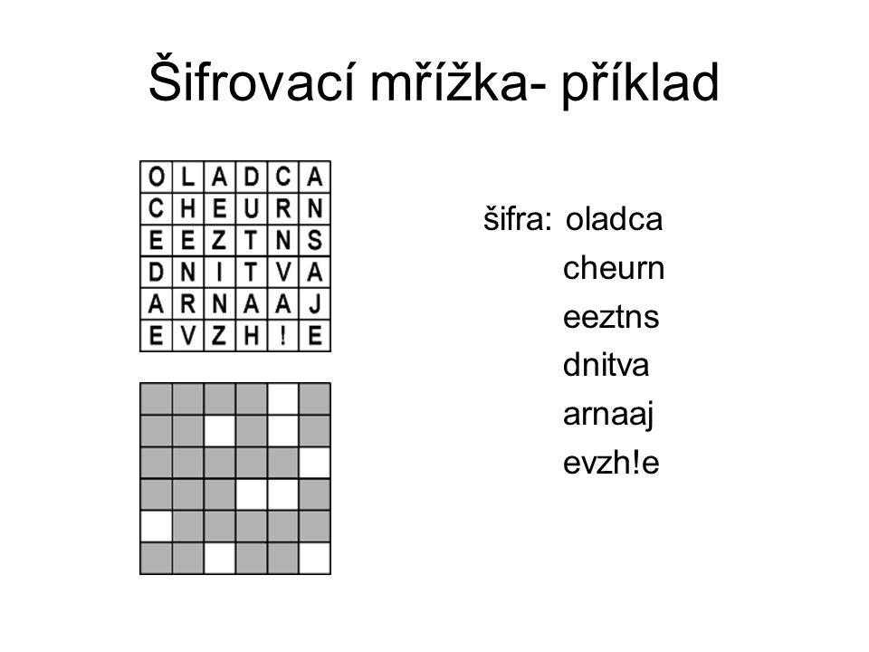 Šifrovací mřížka- příklad šifra: oladca cheurn eeztns dnitva arnaaj evzh!e