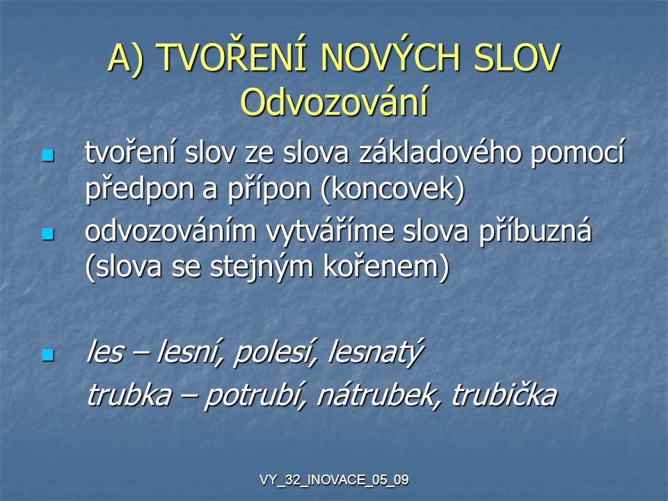 VY_32_INOVACE_05_09 A) TVOŘENÍ NOVÝCH SLOV Odvozování tvoření slov ze slova základového pomocí předpon a přípon (koncovek) tvoření slov ze slova zákla