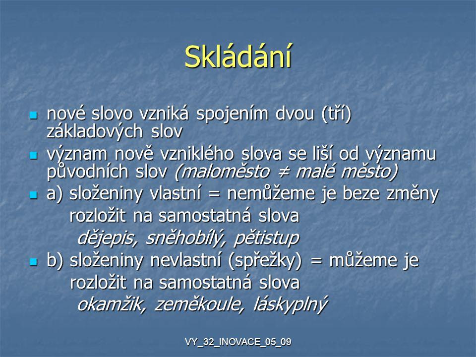 VY_32_INOVACE_05_09 Skládání nové slovo vzniká spojením dvou (tří) základových slov nové slovo vzniká spojením dvou (tří) základových slov význam nově