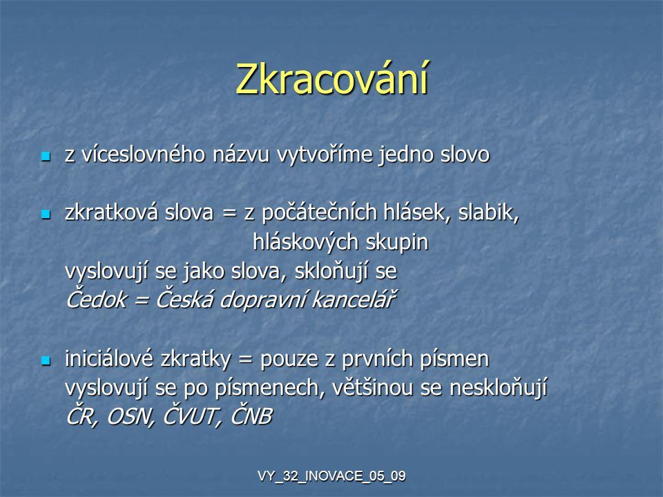 VY_32_INOVACE_05_09 Zkracování z víceslovného názvu vytvoříme jedno slovo z víceslovného názvu vytvoříme jedno slovo zkratková slova = z počátečních h