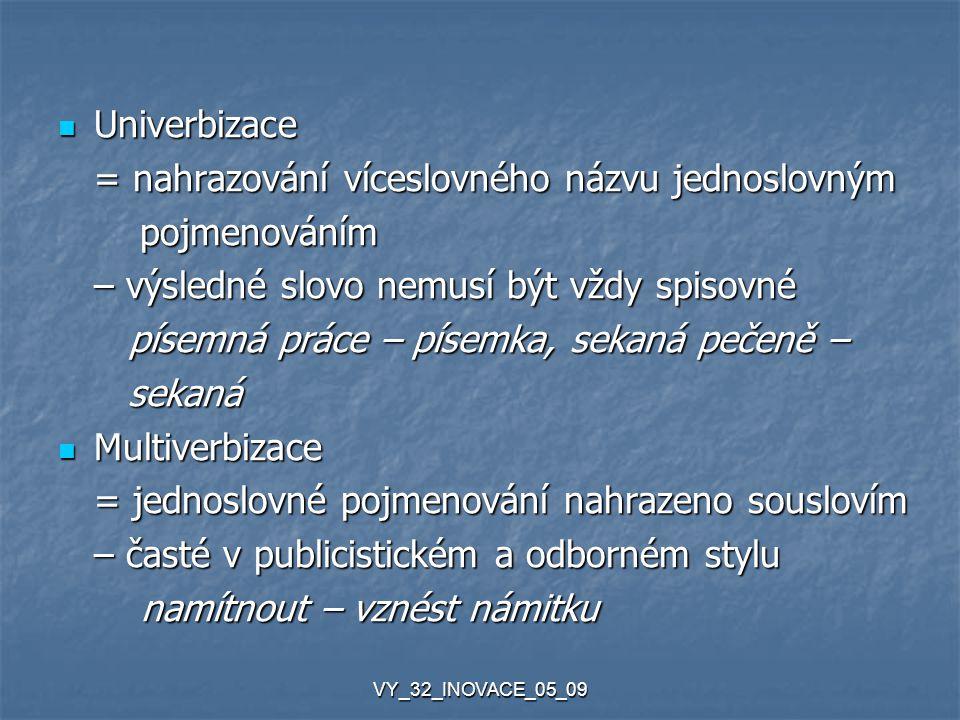 VY_32_INOVACE_05_09 Univerbizace Univerbizace = nahrazování víceslovného názvu jednoslovným pojmenováním pojmenováním – výsledné slovo nemusí být vždy