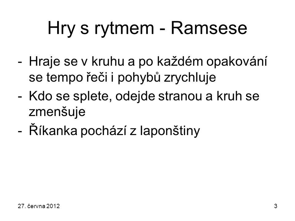 3 Hry s rytmem - Ramsese -Hraje se v kruhu a po každém opakování se tempo řeči i pohybů zrychluje -Kdo se splete, odejde stranou a kruh se zmenšuje -Ř