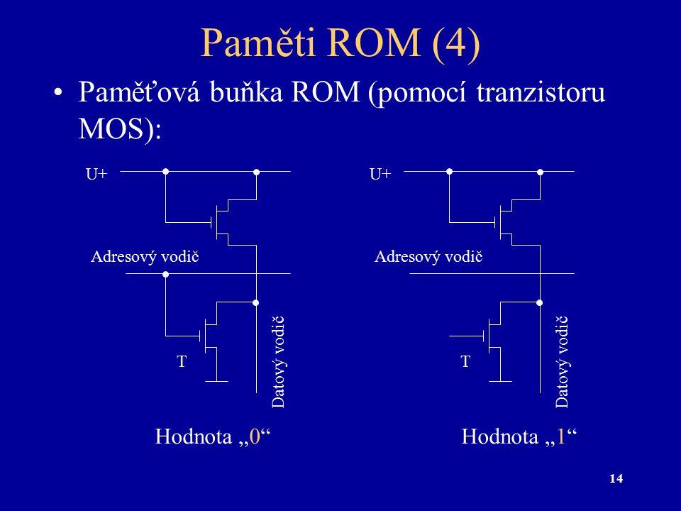 """14 Paměti ROM (4) Paměťová buňka ROM (pomocí tranzistoru MOS): Hodnota """"0"""" Adresový vodič Datový vodič U+ Hodnota """"1"""" T Adresový vodič Datový vodič U+"""