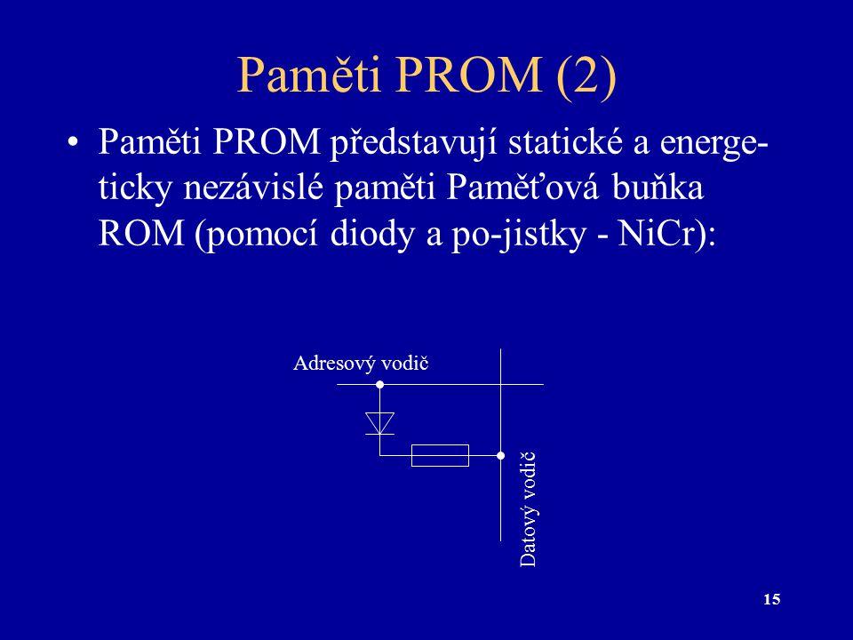 15 Paměti PROM (2) Paměti PROM představují statické a energe- ticky nezávislé paměti Paměťová buňka ROM (pomocí diody a po-jistky - NiCr): Adresový vo