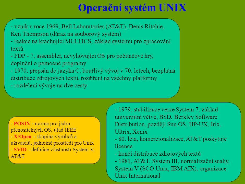 Operační systém UNIX - výkonný, moderní koncepce, různé platformy HW - sdílení času, víceúlohový (multitaskový), víceuživatelský - potřeba spolehlivého a výkonného HW, nezávislost na technickém vybavení - počítačová síť versus terminálová síť (cena, bezpečnost, údržba, infiltrace, dávkové zpracování) - menší sortiment SW, dražší SW, uživatelská nepřívětivost (X/Windows) - Linux (Red Hat, SuSE) - víceuživatelský přístup - potřeba ochrany před vetřelci - přihlašování do systému, evidence uživatelů (superuser, root - UID=0) - UID - User Identification, identifikuje uživatele, práva k souborům a adresářům - každému UID je přiřazeno jméno (Login Name), malá a velká písmena a číslice (!!!), nastavení hesla - po přihlášení je uživatel nastaven do svého domovského adresáře - skupina uživatelů (GID - Group Identification)