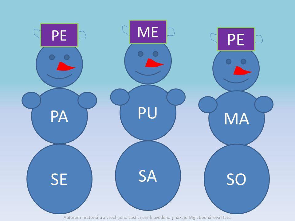PA SE PE MA SO PE PU SA ME Autorem materiálu a všech jeho částí, není-li uvedeno jinak, je Mgr.