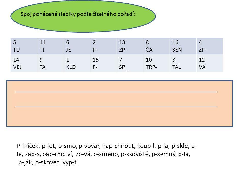 5 TU 11 TI 6 JE 2 P- 13 ZP- 8 ČA 16 SEŇ 4 ZP- 14 VEJ 9 TÁ 1 KLO 15 P- 7 ŠP_ 10 TŘP- 3 TAL 12 VÁ Spoj poházené slabiky podle číselného pořadí: __________________________________________________________________ P-lníček, p-lot, p-smo, p-vovar, nap-chnout, koup-l, p-la, p-skle, p- le, záp-s, pap-rnictví, zp-vá, p-smeno, p-skoviště, p-semný, p-la, p-ják, p-skovec, vyp-t.