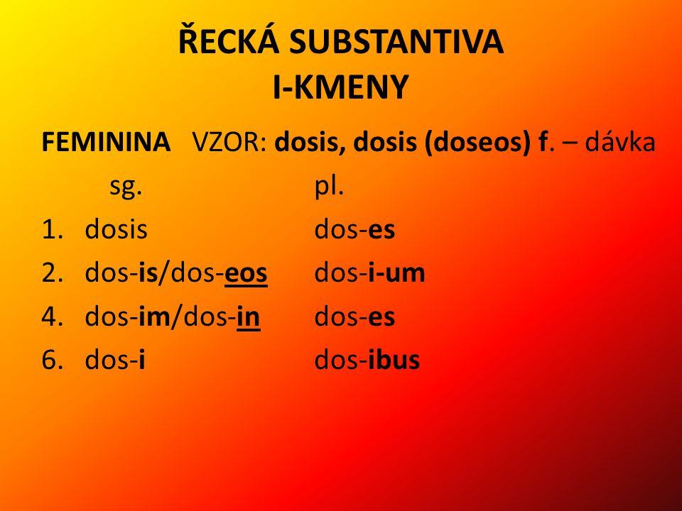 ŘECKÁ SUBSTANTIVA I-KMENY FEMININA VZOR: dosis, dosis (doseos) f.