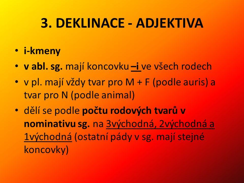 3.DEKLINACE - ADJEKTIVA i-kmeny v abl. sg. mají koncovku –i ve všech rodech v pl.