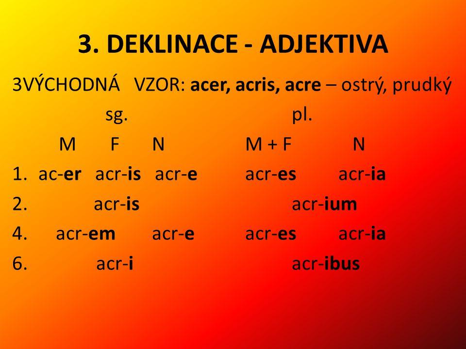 3.DEKLINACE - ADJEKTIVA 3VÝCHODNÁ VZOR: acer, acris, acre – ostrý, prudký sg.pl.