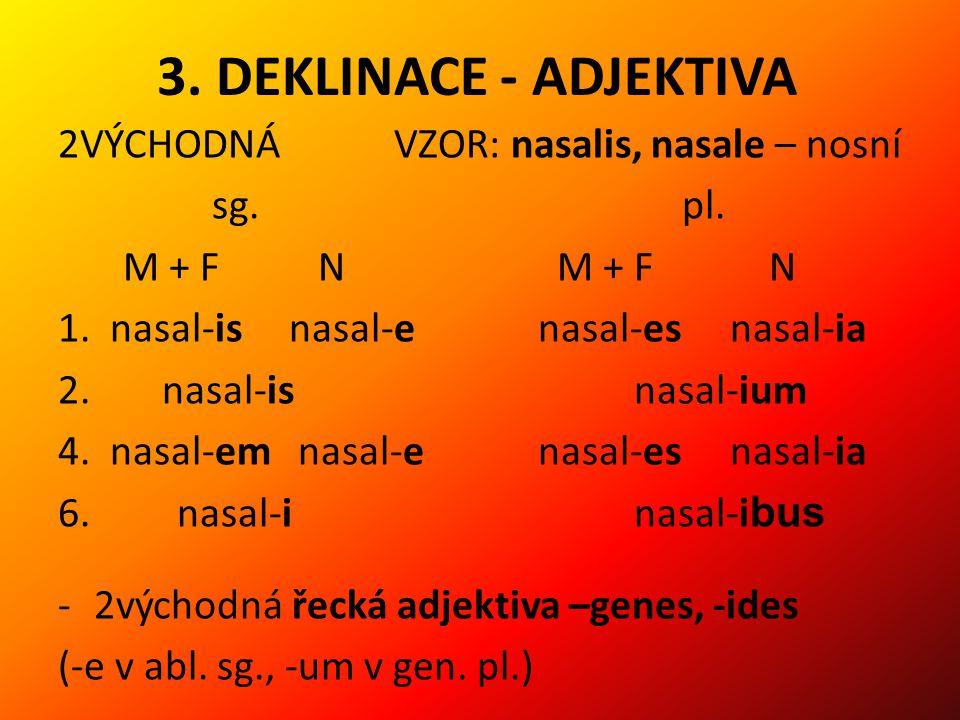 3.DEKLINACE - ADJEKTIVA 2VÝCHODNÁ VZOR: nasalis, nasale – nosní sg.